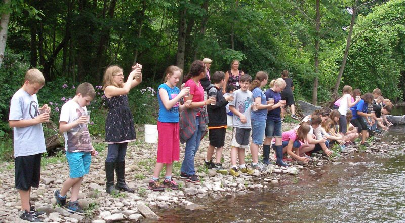 children lined up on the stream